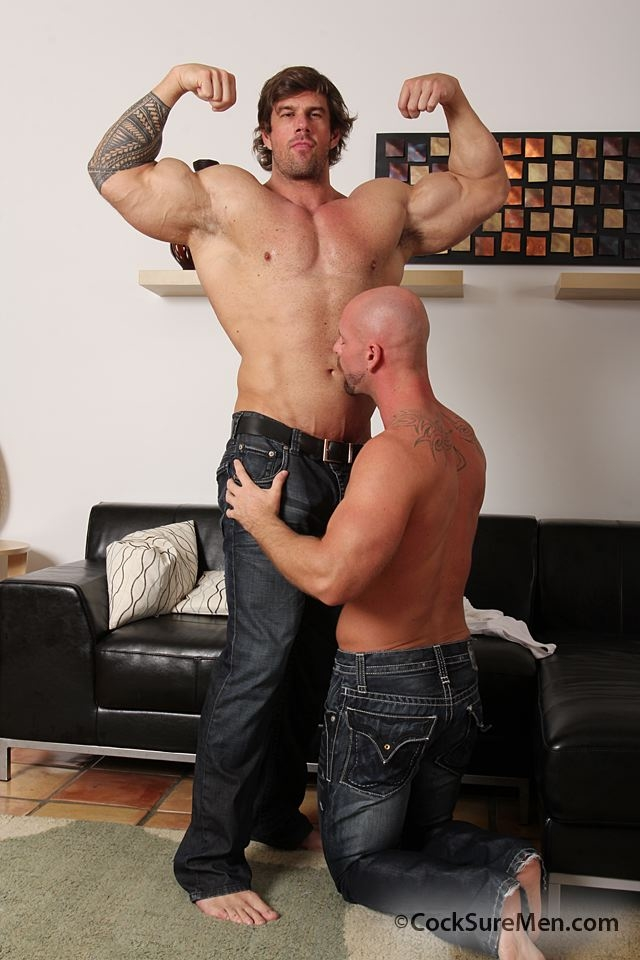 Gay porn star muscle hunk Zeb Atlas fucks ass of Mitch Vaughn