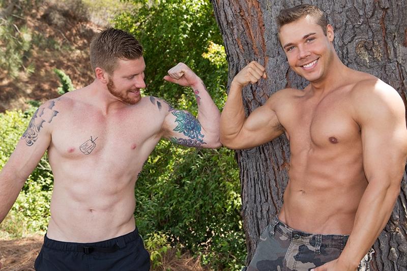 Muscle boys Brody and David bareback fucking