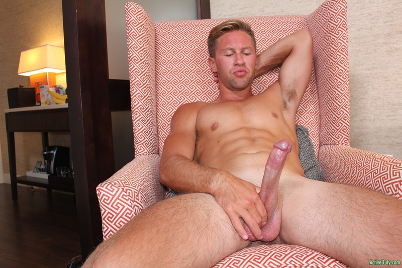 Active Duty Tristan's cock is so long, he can barely get his grip around the whole thing