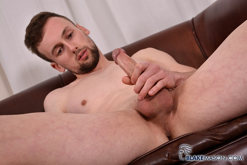 Straight British dude Eden Starr jerks his big uncut dick as he probes his ass with a huge dildo