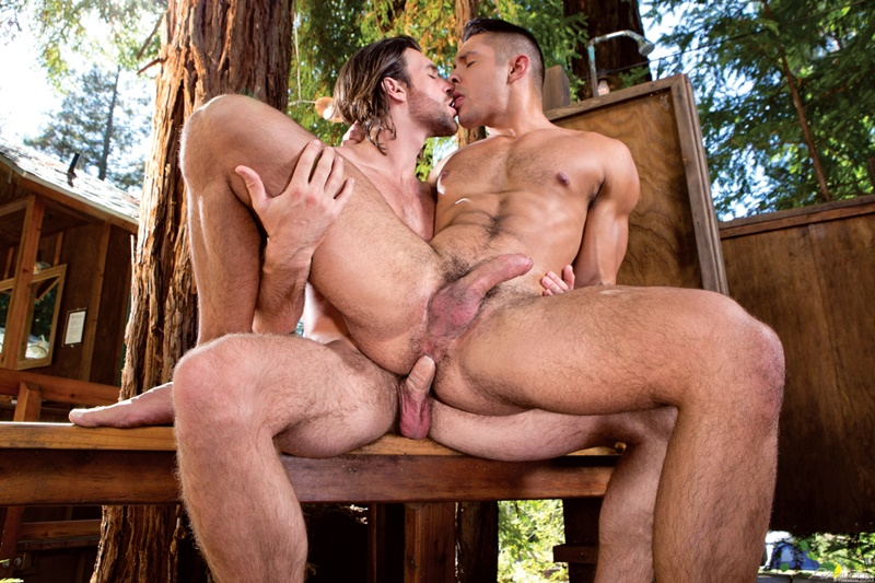 Spreading Seth Santoro's meaty ass Woody Fox dives in tongue first for an epic rim job