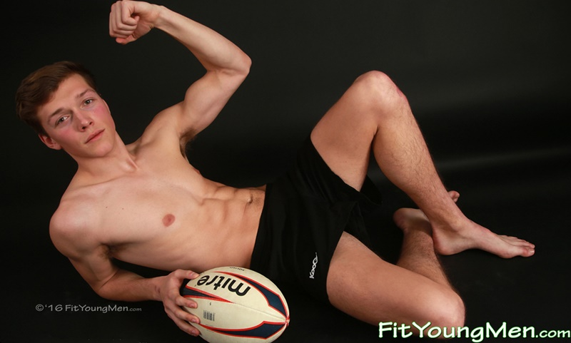 Sexy young rugby player Aiden Kennedy strips off his sexy tight underwear