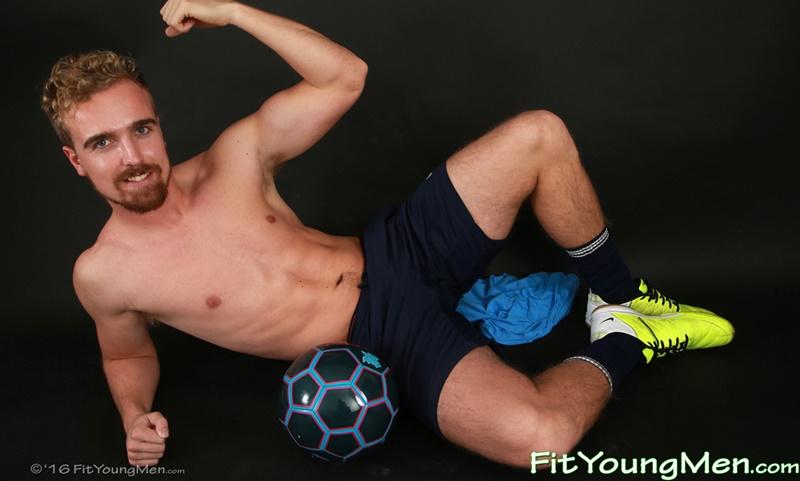 23 year old footballer Jamie Gleeson strips out of his footie kit and jerks his huge uncut dick