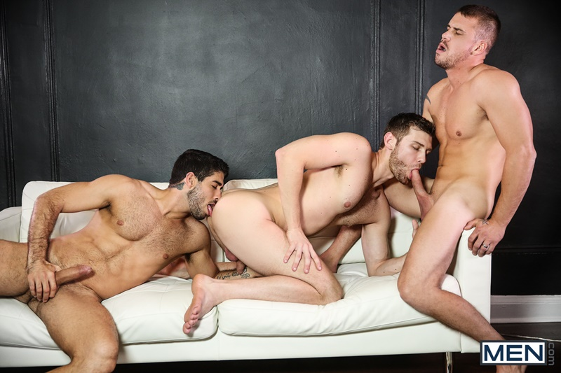 Sexy young studs Diego Sans, Darin Silvers and Jacob Peterson hardcore anal fuck orgy