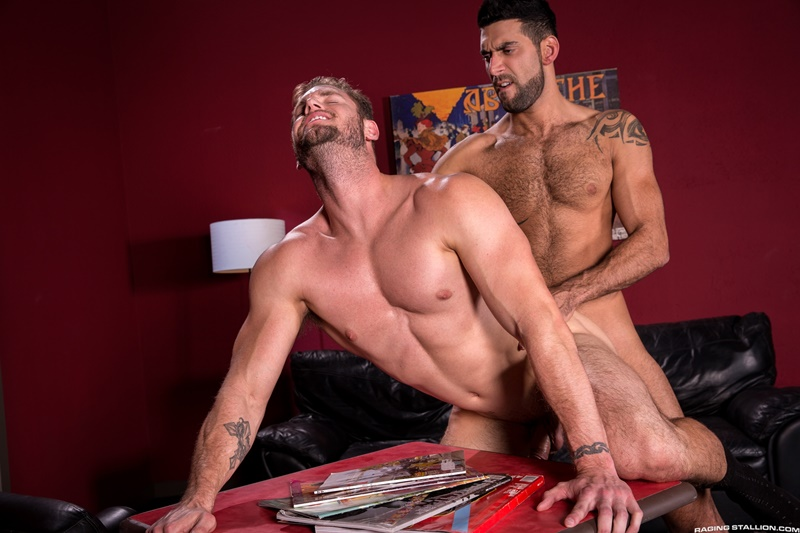 Mick Stallone uses the tip of his cock to tease Ace Era's hole then drives his fuck stick deep inside