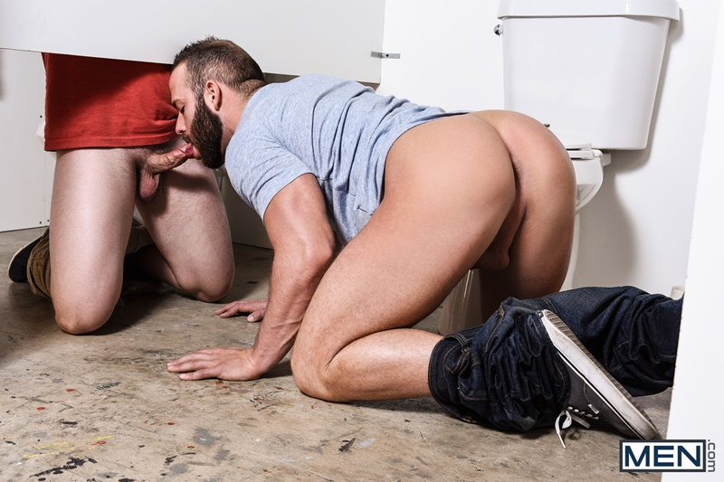 Bathroom glory hole Luke Adams and Tobias big dick cock sucking
