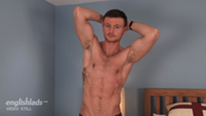 Straight dude James Hallows jekrs his big uncut dick shooting a massive load right up on to his chest
