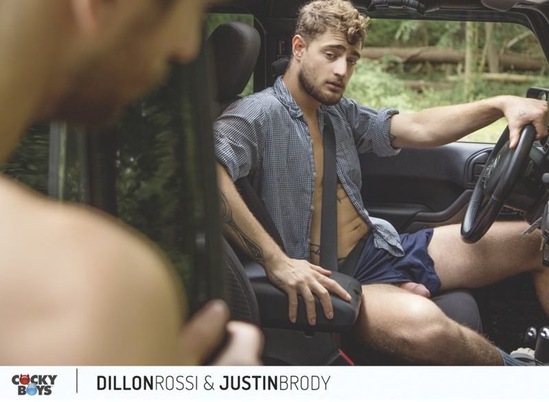 Dillon Rossi rides Justin Brody's huge young dick sliding his ass back and forth going deeper and deeper