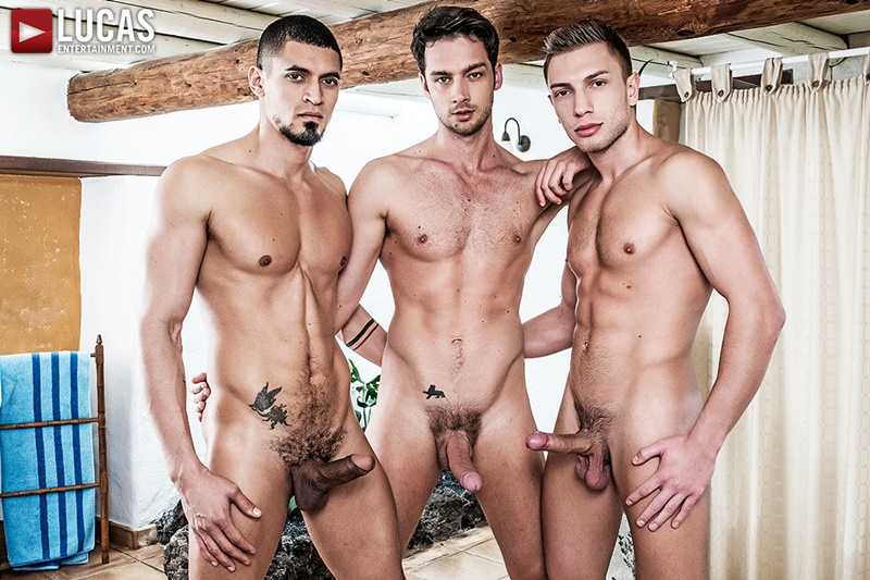 Ibrahim Moreno and Bogdan Gromov double fuck Damon Heart tight muscled ass