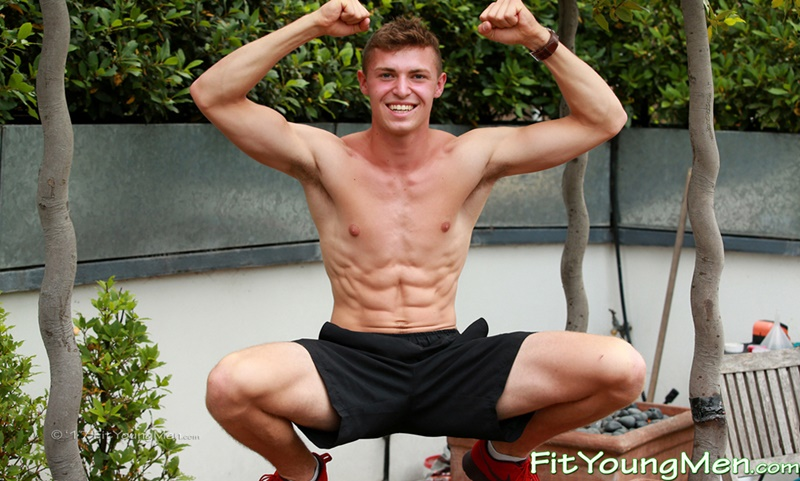 18 year old ripped young naked sportsman Otto Davis strips down to his tight sexy undies