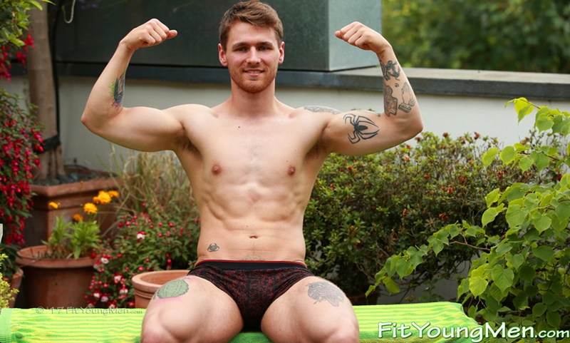 Ripped sportsman Travis Clemence shows off his big crotch bulge in just his underwear