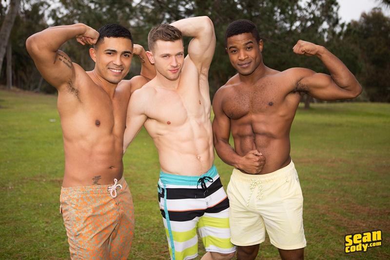 Hot naked muscle boys Landon, Deacon and Asher bareback ass fucking threesome