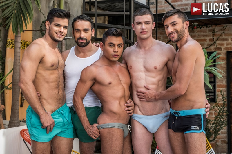 Bareback ass fucking orgy with Ruslan Angelo, Rico Marlon, Scott Demarco, Sebastian Oliver, Daniel Azcona