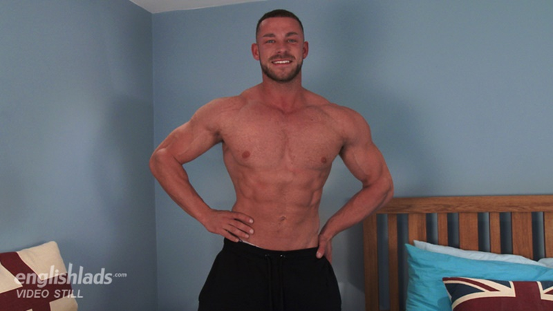 Big muscle straight dude Conall Timpson strips and jerks his huge uncut muscled dick