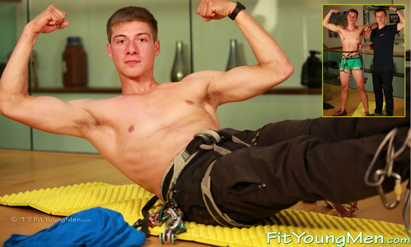 Young athletic climber Henry Kane strips down to his sexy underwear and jerks out a huge load of hot boy cum