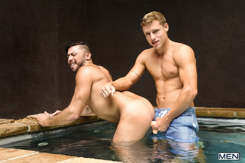 Men for Men Blog Justin-Matthews-and-Shane-Jackson-dildo-ass-play-Men-com-008-gay-porn-pics-gallery Justin Matthews is shocked to find Shane Jackson in the pool taking a huge dildo up his ass Men